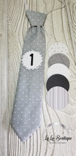 Load image into Gallery viewer, Gray White Dot Milestone Tie Set