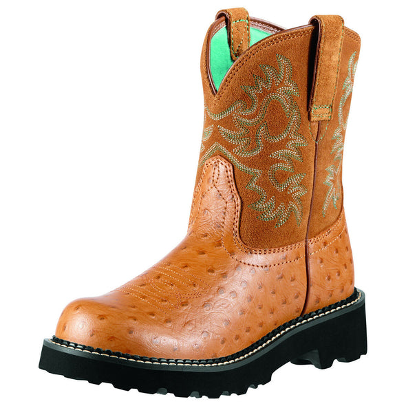 Women's Fatbaby Western Boots in Cognac Ostrich Print Leather, 10000821 Ariat
