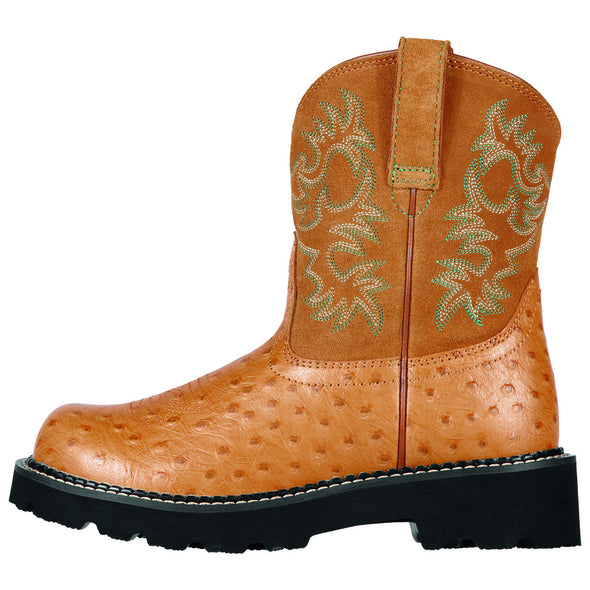 Women's Fatbaby Western Boots in Cognac Ostrich Print Leather, 10000821 Ariat side