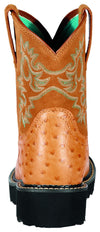 Women's Fatbaby Western Boots in Cognac Ostrich Print Leather, 10000821 Ariat heel