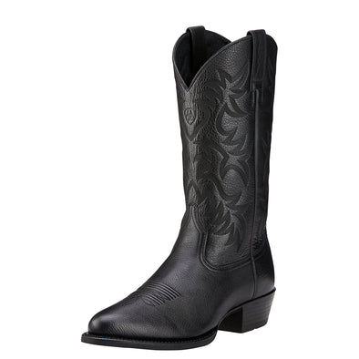 Ariat Men's Heritage Western R Toe Black Deertan 10002218