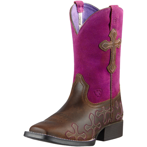 Ariat Kid's Crossroads Distressed Brown / Fuchsia 10011892