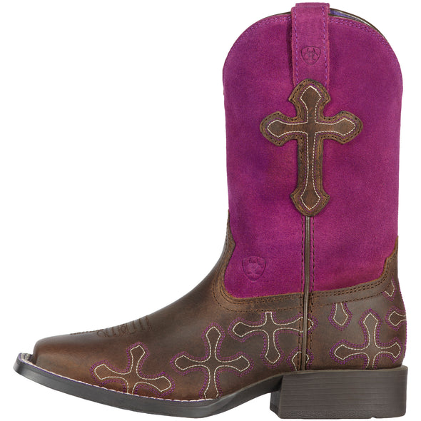 Ariat Kid's Crossroads Distressed Brown / Fuchsia 10011892 side