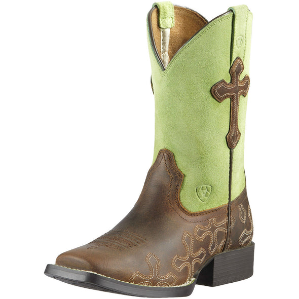 Ariat Kid's Crossroads Powder Brown / Lime 10011897