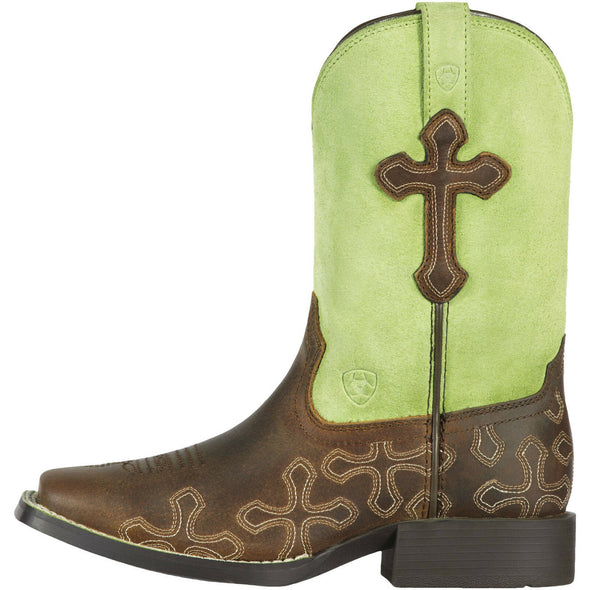 Ariat Kid's Crossroads Powder Brown / Lime 10011897 side