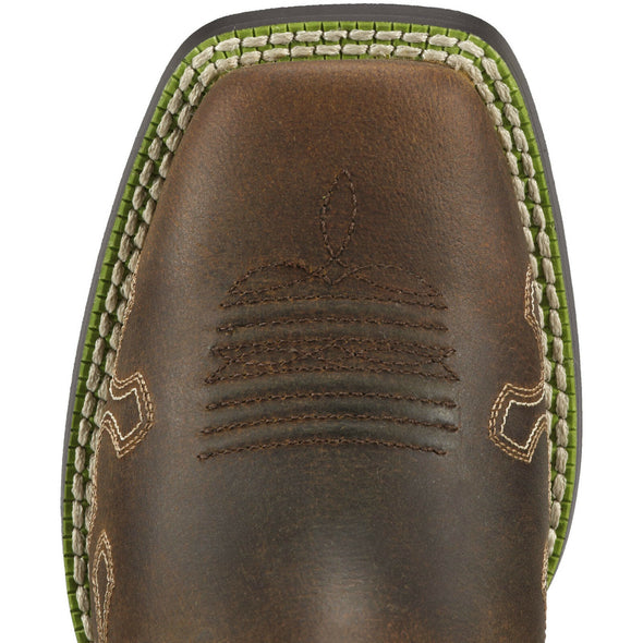 Ariat Kid's Crossroads Powder Brown / Lime 10011897 toe