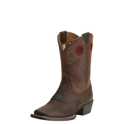 Kid's Heritage Roughstock Western Boots in Brown Oiled 10014101 Ariat.