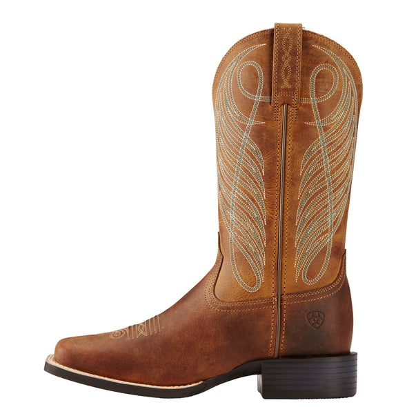 Ariat Women's Round Up Wide Square Toe Powder Brown 10018528 size