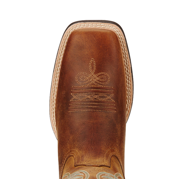 Ariat Women's Round Up Wide Square Toe Powder Brown 10018528 toe