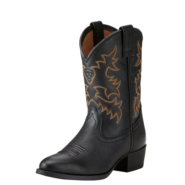 Kid's Heritage R Toe Western Boots in Black Deertan 10021609 Ariat