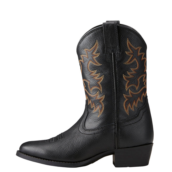 Kid's Heritage R Toe Western Boots in Black Deertan 10021609 Ariat side