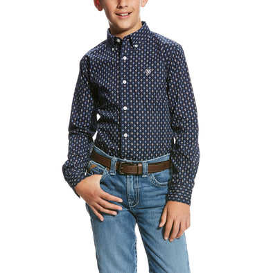 Ariat Boy's Padaman LS Print Shirt True Navy 10023538