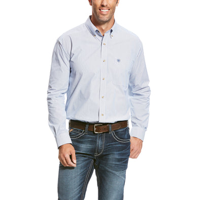 Men's Pro Series Dayne Mini Stripe Shirt in True Blue 10023597 Ariat