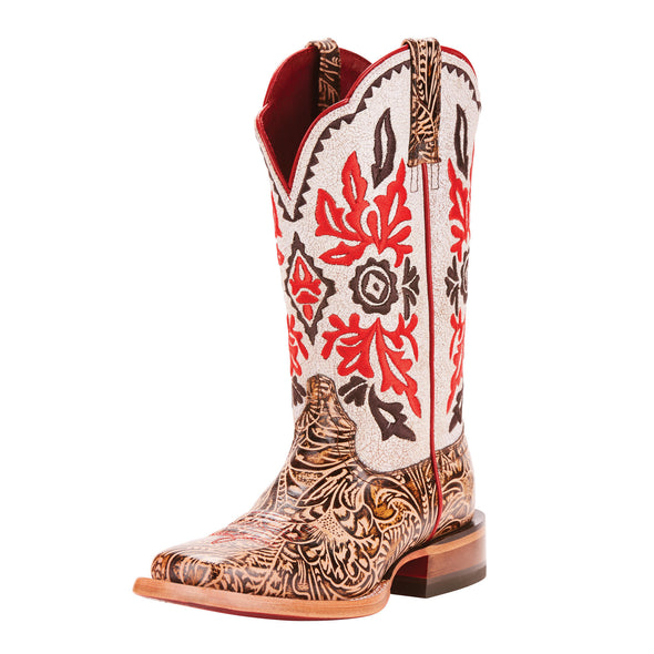 Women's Magnolia Western Boots in Naturally Tooled <span>Brown/White Crackle 10025047</span> Ariat