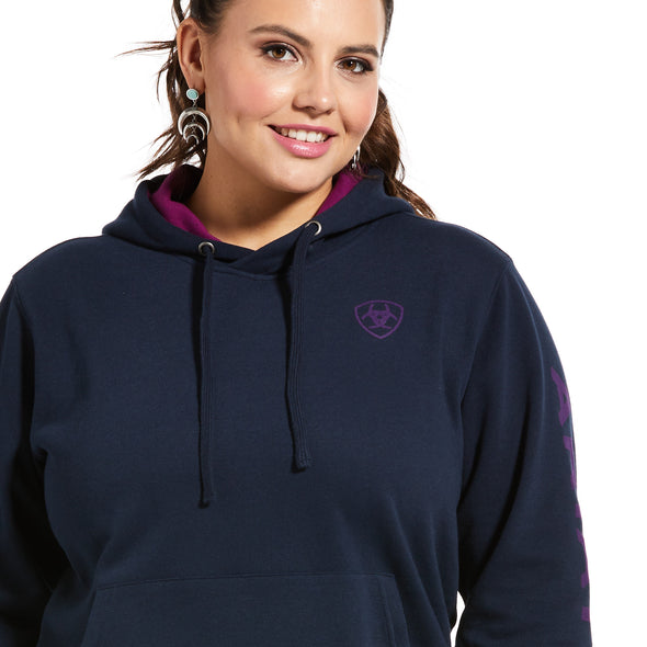 Women's REAL Arm Logo Hoodie Fleece in Navy Eclipse 10033136 Ariat top