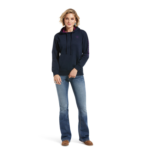 Women's REAL Arm Logo Hoodie Fleece in Navy Eclipse 10033136 Ariat full