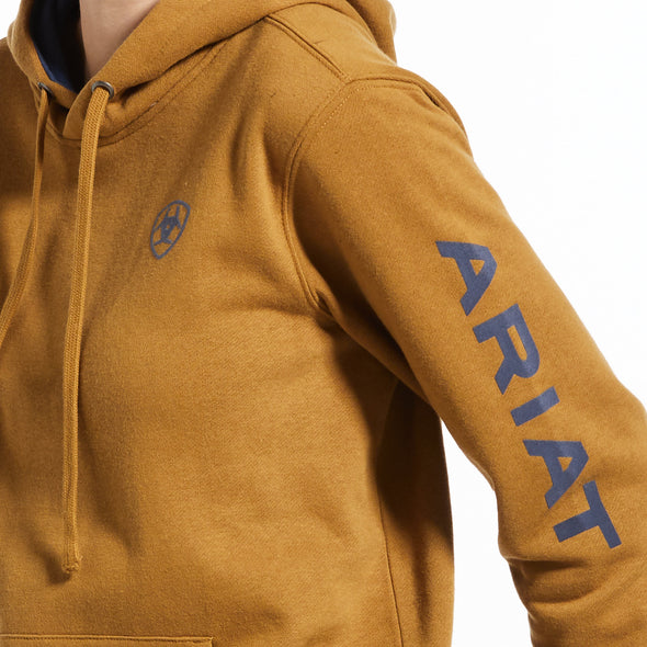Women's REAL Arm Logo Hoodie Fleece in Bronze Brown Cotton,10033137 Ariat arm logo