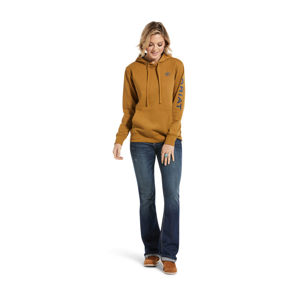 Women's REAL Arm Logo Hoodie Fleece in Bronze Brown Cotton,10033137 Ariat full
