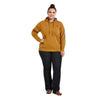 Women's REAL Arm Logo Hoodie Fleece in Bronze Brown Cotton,10033137 Ariat extended full