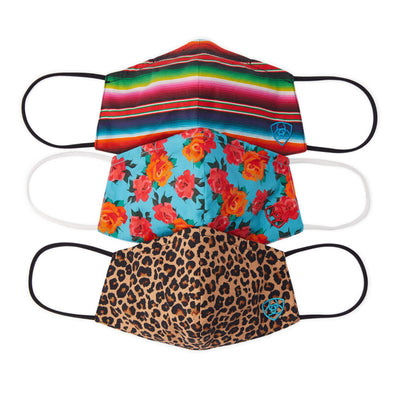 Women's Western Fashion Mask (3 Pack) in Cheetah, Serape, Roses Cotton by Ariat 10036705