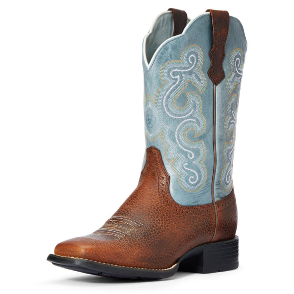 Ariat Women's Quickdraw Brown Oiled Rowdy / Saphire Blue 10004720