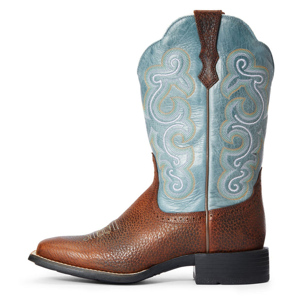 Ariat Women's Quickdraw Brown Oiled Rowdy / Saphire Blue 10004720 side