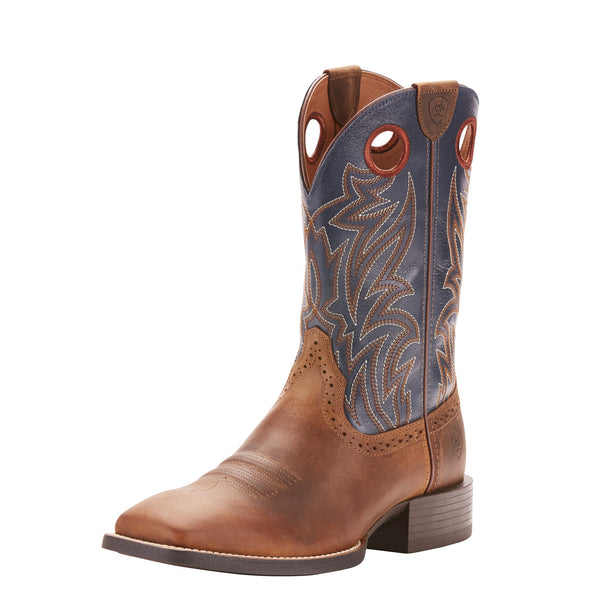 Ariat Men's Sport Sidebet Distressed Brown / Solid Blue 10025130