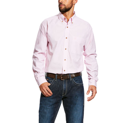 Ariat Men's Dayne LS Mini Stripe Shirt Prism Pink 10023596