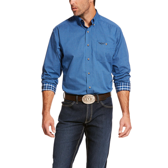 Men's Relentless Charge Stretch Classic Fit Shirt in Vertical Blue Cotton, 10028913 Ariat