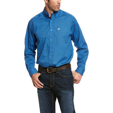 Men's Trennor Stretch Classic Fit Shirt in Campanula Blue Cotton, 10028022 Ariat