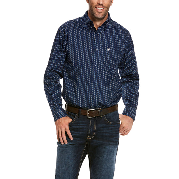 Men's Trewin Classic Fit Shirt in Dress Blue Cotton, 10028024 Ariat