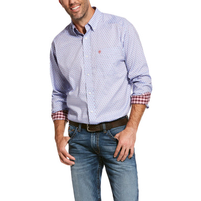 Men's Wrinkle Free Wansor Classic Fit Shirt in Dusted Blue Cotton, 10028039 Ariat