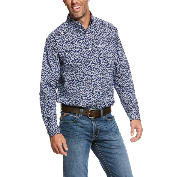 Men's Roper Stretch Classic Fit Shirt in Blue Depths Cotton, 10028223 Ariat