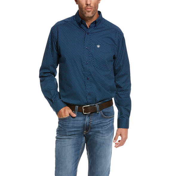 Men's Rosano Stretch Classic Fit Shirt in Blue Depths Cotton, 10028224 Ariat