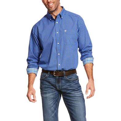 Men's Wrinkle Free Ziam Classic Fit Shirt in Cobalt 10028744 Ariat