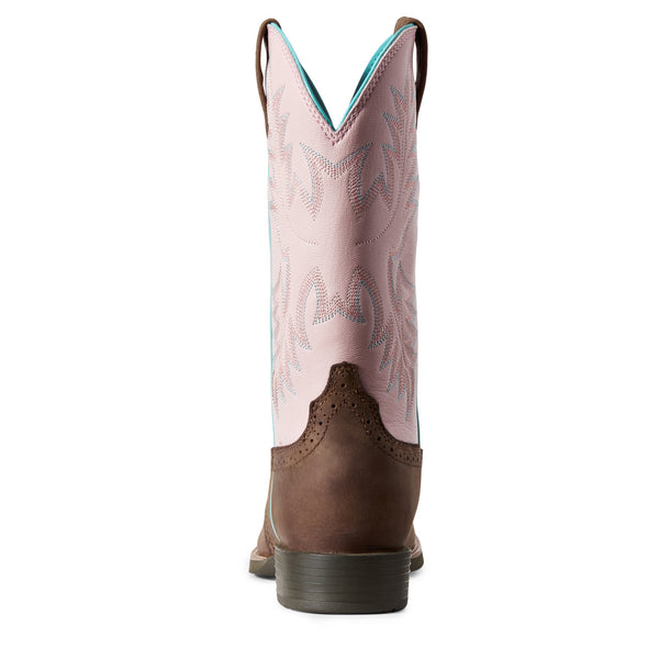 Ariat Women's Heritage Stockman Driftwood Brown / Pastel Pink 10029762 heel