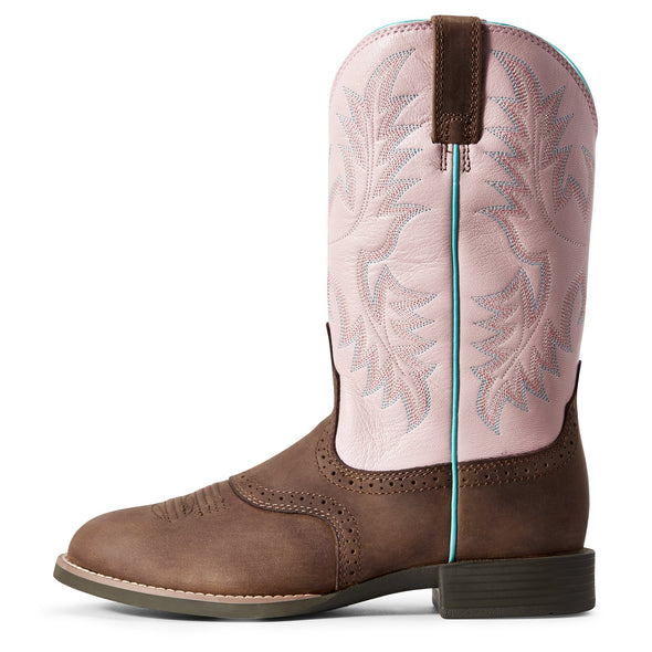 Ariat Women's Heritage Stockman Driftwood Brown / Pastel Pink 10029762 side