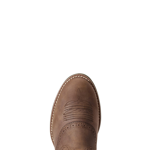 Ariat Women's Heritage Stockman Driftwood Brown / Pastel Pink 10029762 toe
