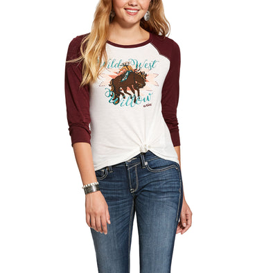 Women's Willow Shirt in Snow White/Burnt Brick, 10028284 Ariat