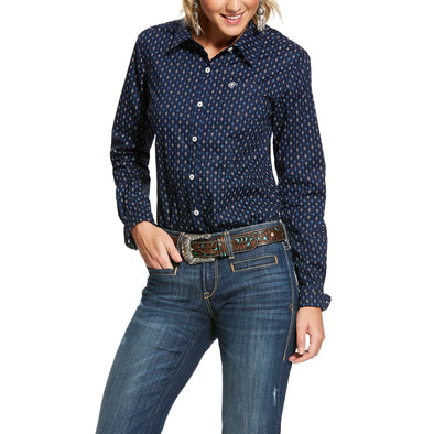 Women's Wrinkle Resist Kirby Stretch Shirt in Midnight Arrows Cotton, 10028366 Ariat