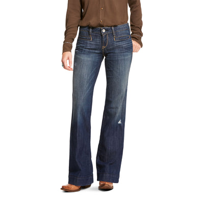 Women's Trouser Mid Rise Stretch Lucy Wide Leg Jeans in Pacific 10028925 Ariat