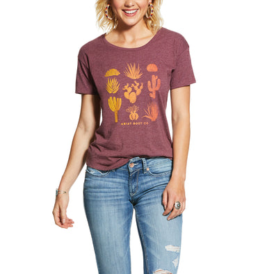 Ariat Women's Joshua Cactus Tee Burgundy Heather 10031693