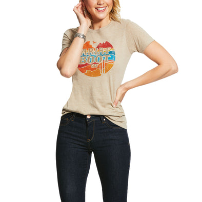 Ariat Women's Longhorn Boot Co Tee Oatmeal 10031695