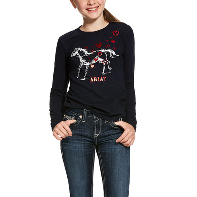 Girl's Pony Love Tee Shirt in Navy Blue 10028016 Ariat