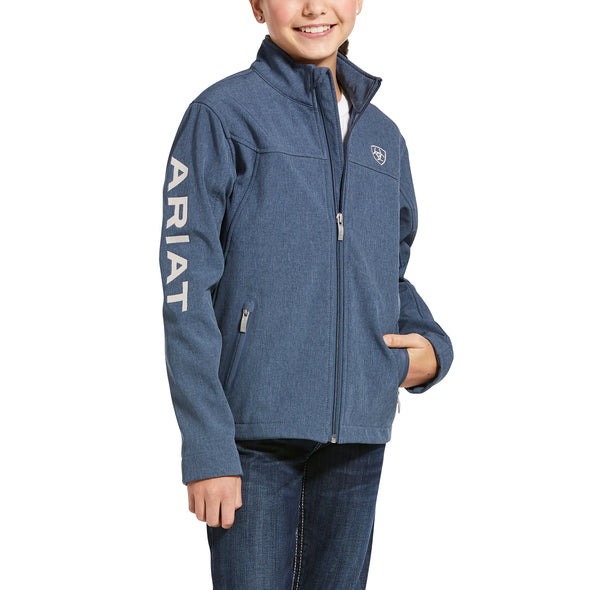 Kid's New Team Softshell Jacket Fleece in Lake Life Heather 10028364 Ariat