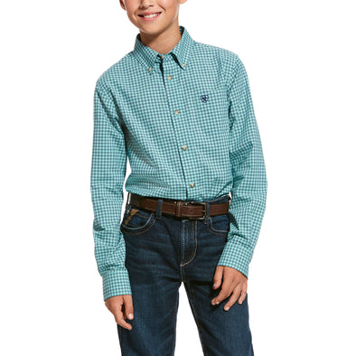 Kid's Pro Series Ronan Stretch Classic Fit Shirt in Trellis Aqua Cotton, 10028150 Ariat