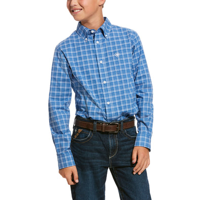 Kid's Pro Series Underlin Stretch Fitted Shirt in Bright Cobalt Cotton, 10028152 Ariat