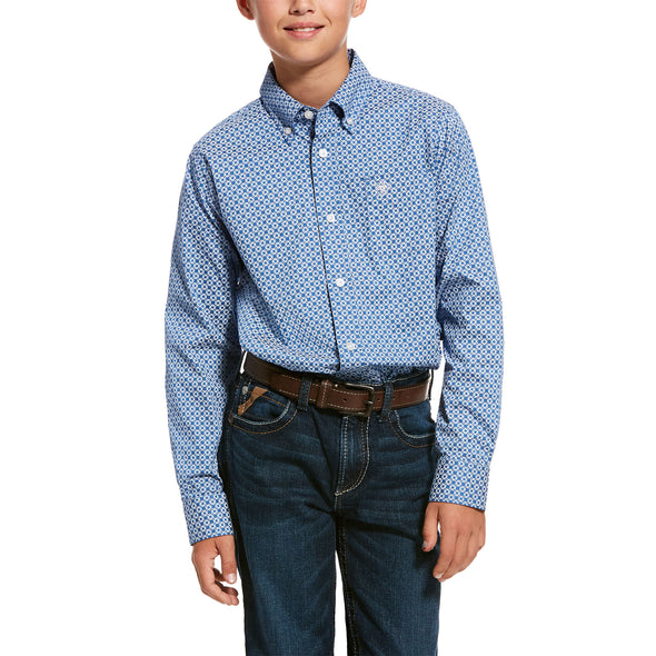 Kid's Uchino Stretch Classic Fit Shirt in Bright Cobalt Cotton, 10028157 Ariat