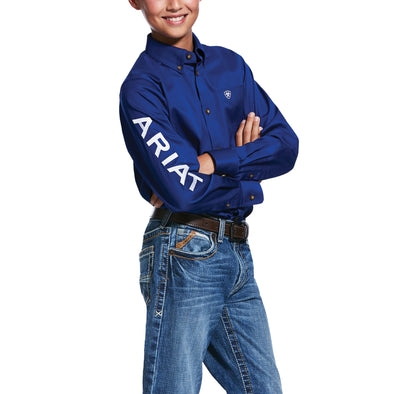 Kid's Team Logo Twill Classic Fit Shirt in Ultramarine/White 10030164 Ariat