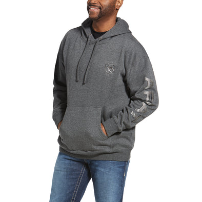 Men's Stencil Logo Hoodie Fleece in Charcoal Heather 10033147 Ariat
